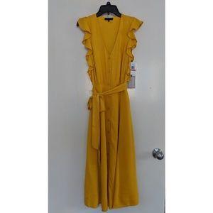 Yellow Buttondown Midi Dress Ruffles size XS, NEW